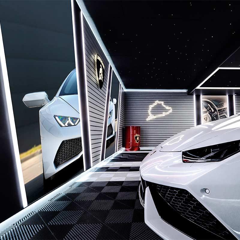 création garage lamborghini