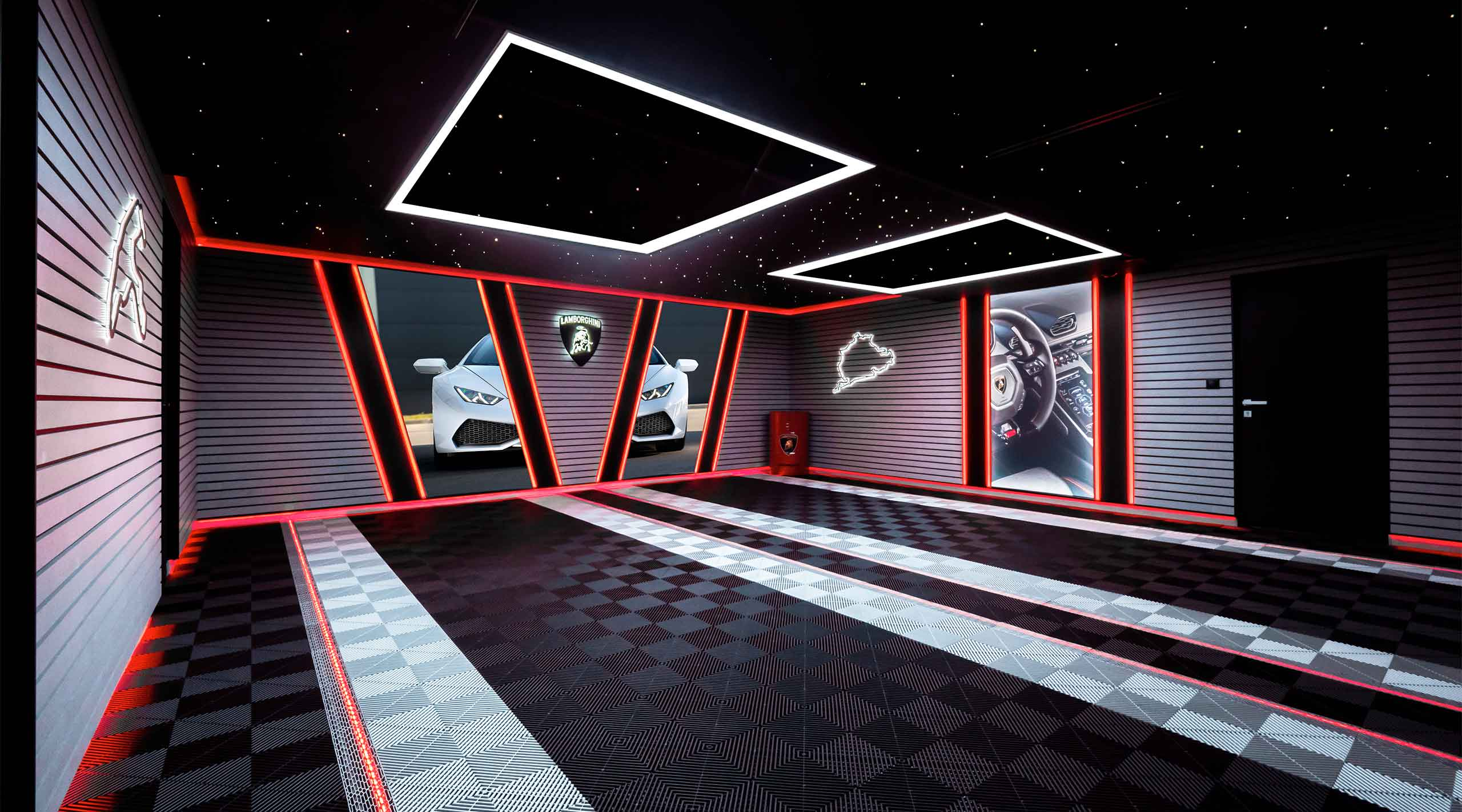 éclairages garage haut de gamme ambiance lamborghini