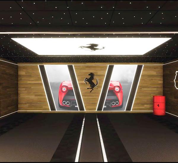 éclairage plafond avec logo ferarri