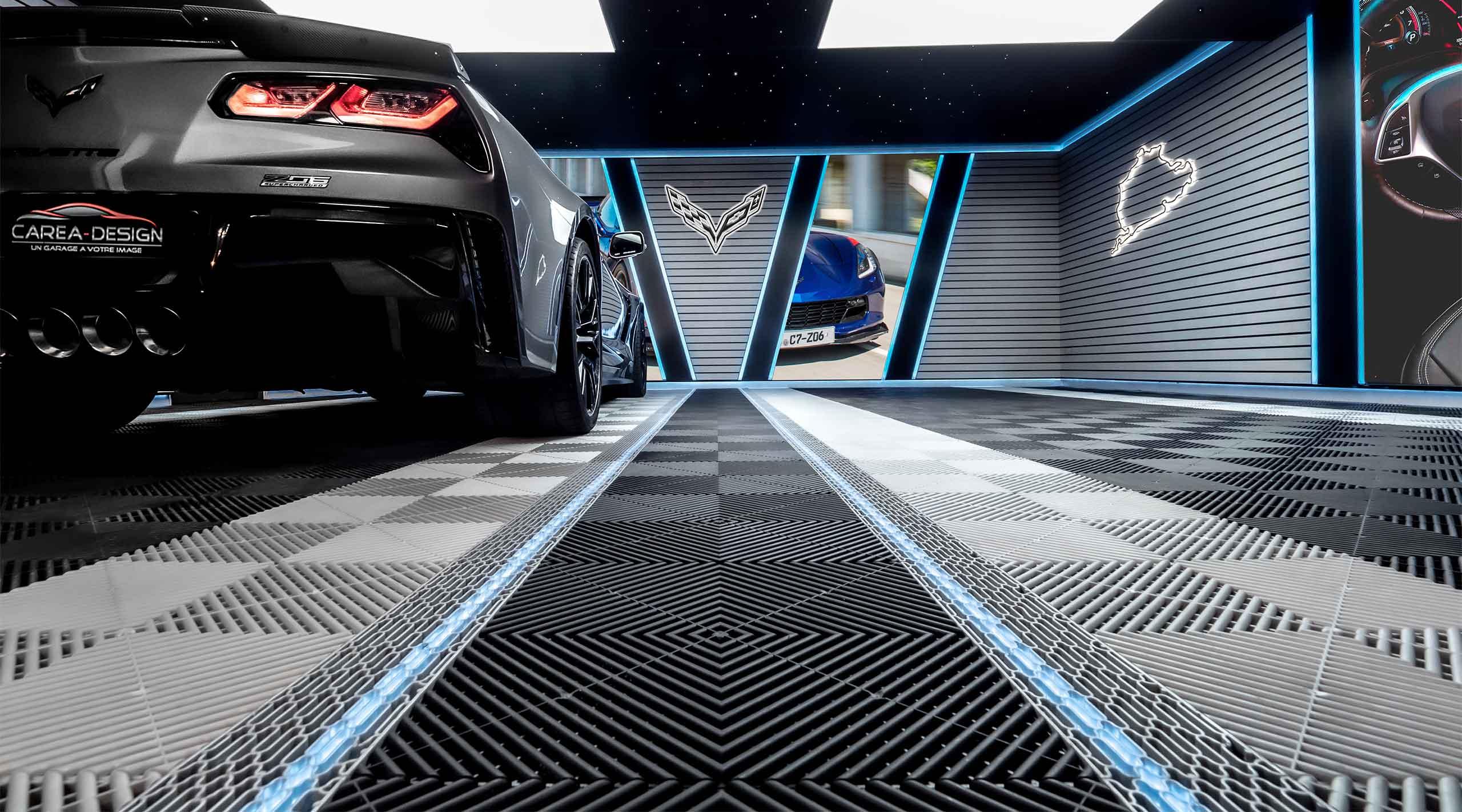 sol carbone garage haut de gamme corvette