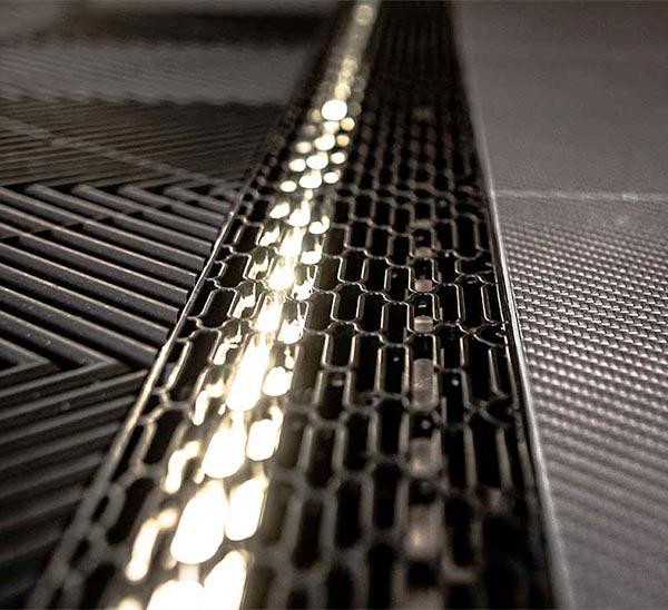 sol carbone leds intégrées garage haut de gamme